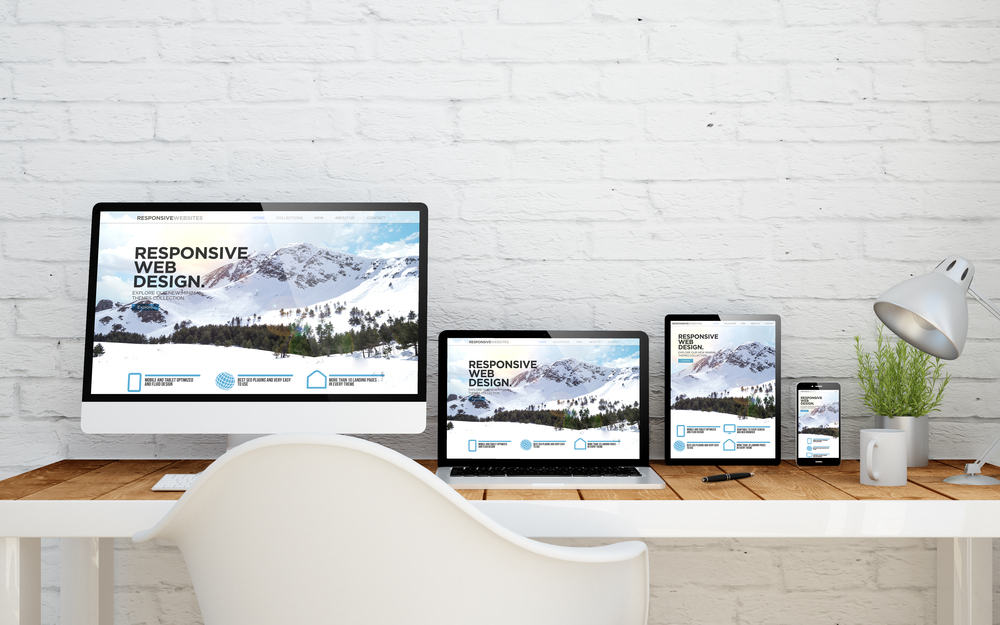 multidevice desktop with responsive website on screens. 3d rendering.